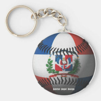 Dominican Republic Flag Covered Baseball Basic Round Button Keychain