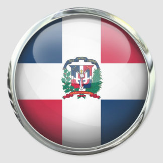Dominican Republic Flag Glass Ball Classic Round Sticker