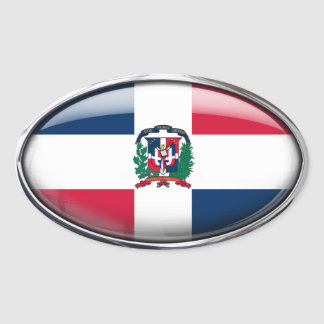 Dominican Republic Flag Glass Oval Oval Sticker