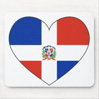 Dominican Republic Flag Heart Mouse Pad