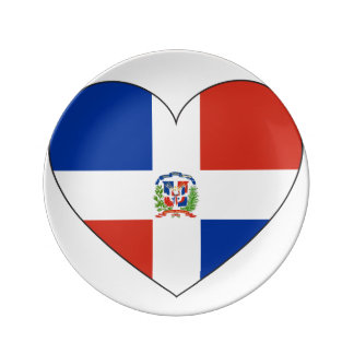 Dominican Republic Flag Heart Plate