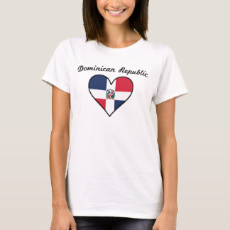 Dominican Republic Flag Heart T-Shirt