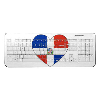 Dominican Republic Flag Heart Wireless Keyboard