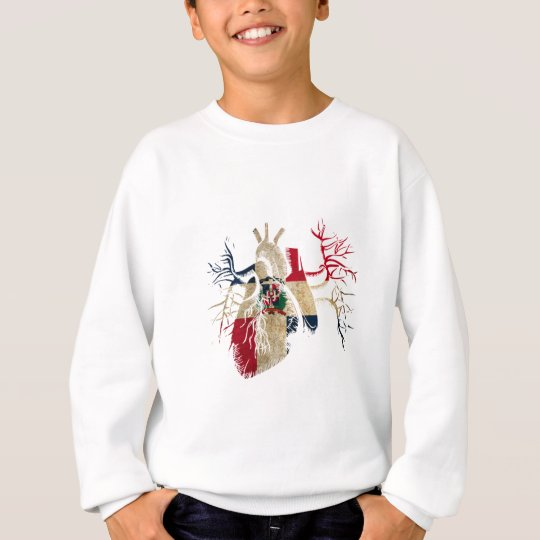Dominican-Republic Flag in Real heart Sweatshirt