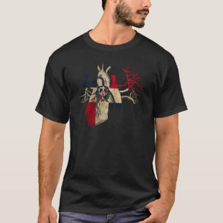 Dominican-Republic Flag in Real heart T-Shirt