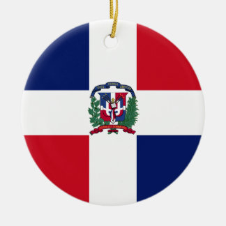 Dominican Republic Flag Round Ceramic Ornament