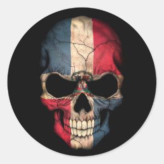 Dominican Republic Flag Skull on Black Classic Round Sticker