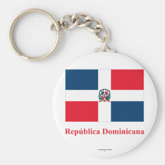 Dominican Republic Flag with Name in Spanish Basic Round Button Keychain