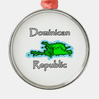Dominican Republic Map Silver-Colored Round Ornament