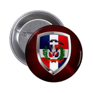 Dominican Republic Mettalic Emblem 2 Inch Round Button
