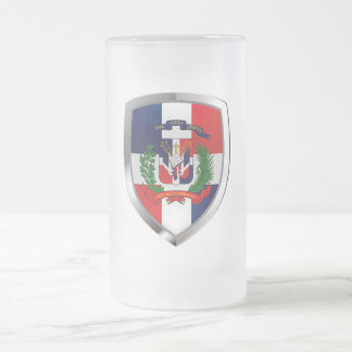 Dominican Republic Mettalic Emblem Frosted Glass Beer Mug