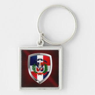 Dominican Republic Mettalic Emblem Silver-Colored Square Keychain