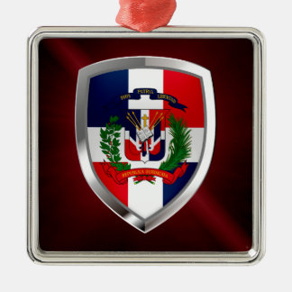 Dominican Republic Mettalic Emblem Silver-Colored Square Ornament