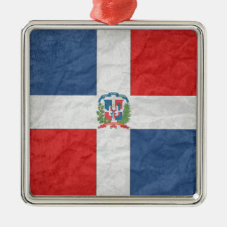Dominican Republic Silver-Colored Square Ornament