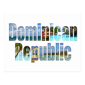 Dominican Republic tourist sights in letters Postcard