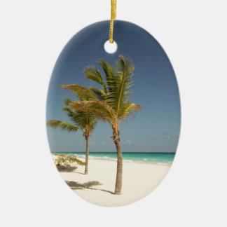Dominican Republic Tropical Beach Ceramic Oval Ornament