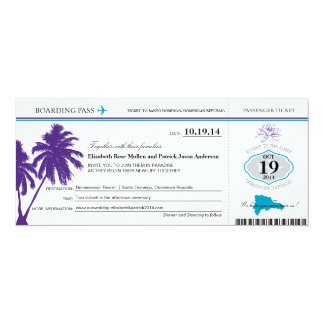 Dominican Republic Wedding Boarding Pass Card