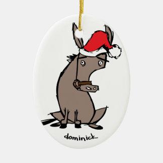 Dominick the Donkey Ceramic Oval Ornament