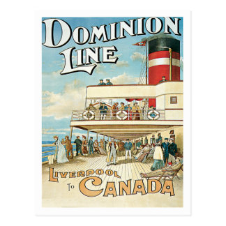 Dominion Line Liverpool To Canada Postcard