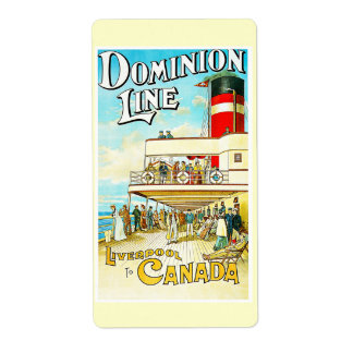 Dominion Line Liverpool to Canada Vintage Personalized Shipping Labels