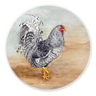 Dominique Chicken Rooster Watercolor Artwork Ceramic Knob