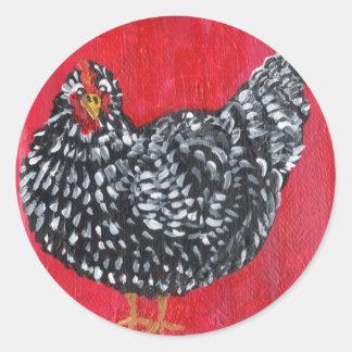 Dominique Chicken Round Sticker