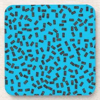 Dominoes on Blue Coaster
