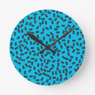 Dominoes on Blue Round Clock