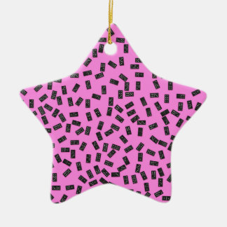 Dominoes on Pink Ceramic Ornament
