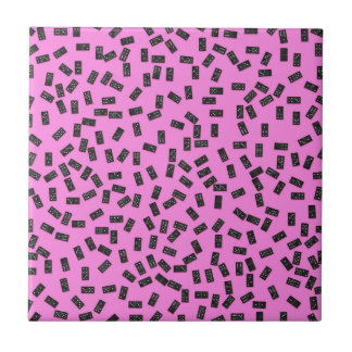 Dominoes on Pink Ceramic Tiles