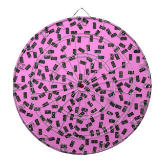 Dominoes on Pink Dartboard