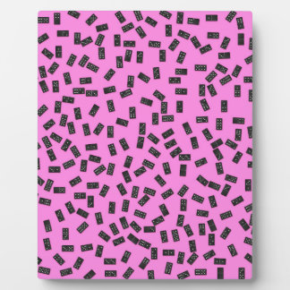 Dominoes on Pink Plaque