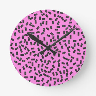 Dominoes on Pink Round Clock