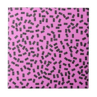 Dominoes on Pink Tile