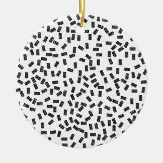 Dominoes on White Ceramic Ornament