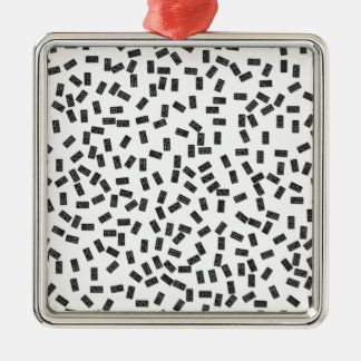 Dominoes on White Metal Ornament