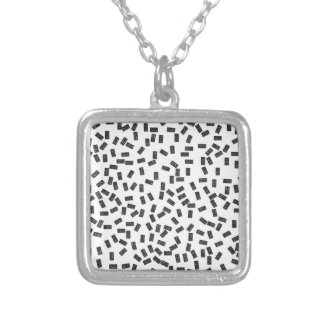 Dominoes on White Silver Plated Necklace