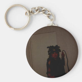 DOMME WITH WHIP BASIC ROUND BUTTON KEYCHAIN