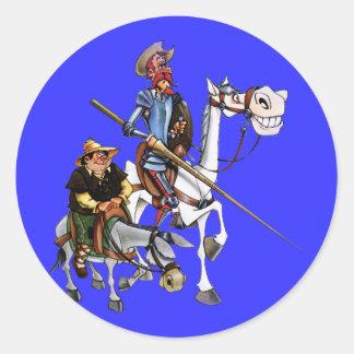 DON QUIJOTE, SANCHO, ROCINANTE y RUCIO - Cervantes Round Sticker