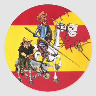 DON QUIJOTE&SANCHO - Windmill Spanish-flag Round Sticker