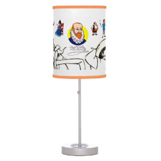 Don Quixote author & characters by @QUIXOTEdotTV Table Lamp