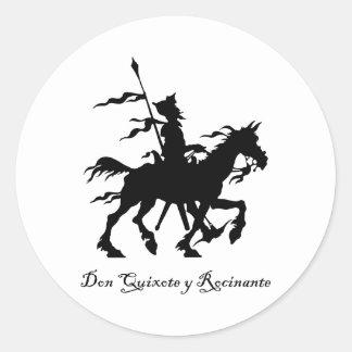 Don Quixote y Rocinante Classic Round Sticker