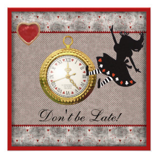 Don t be Late Alice in Wonderland Birthday Party Personalized Invite