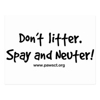 Don t litter spay and neuter post card