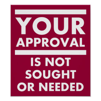 Don t Need Your Approval Funny Poster