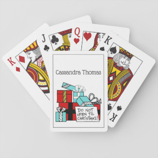 Don't Open Til Christmas Presents Xmas Playing Cards