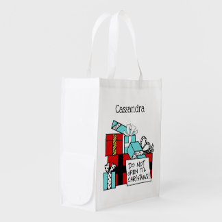 Don't Open Til Christmas Presents Xmas Reusable Grocery Bag