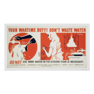 Don t Waste Water Kitchen WPA Posters