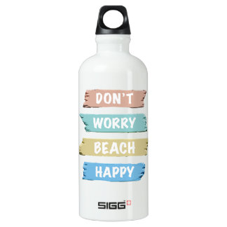 Don't Worry BEACH Happy - Fun Beach Print Water Bottle