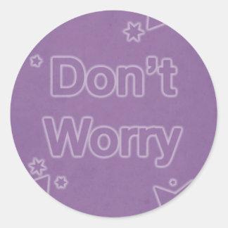 Don t Worry on a Purple Star Pattern Sticker